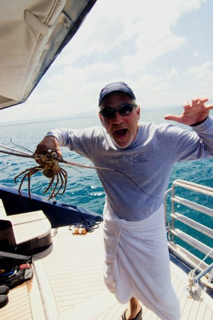 Hardy with a lobster before it was returned to sea.