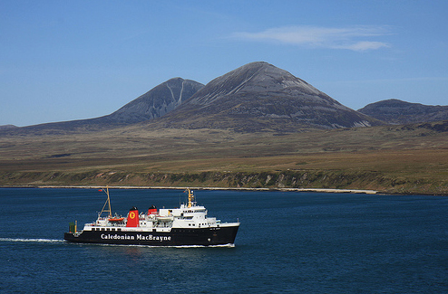 CalMac ferry to Islay with Paps of Jura in the background.