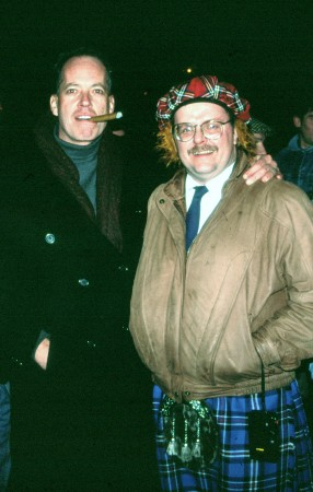 Me (with cigar) and friend in a see-you-Jimmy tartan hat and kilt.