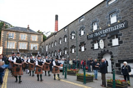 Pipe band at Oban Distillery. Photos by Christine Spreiter.