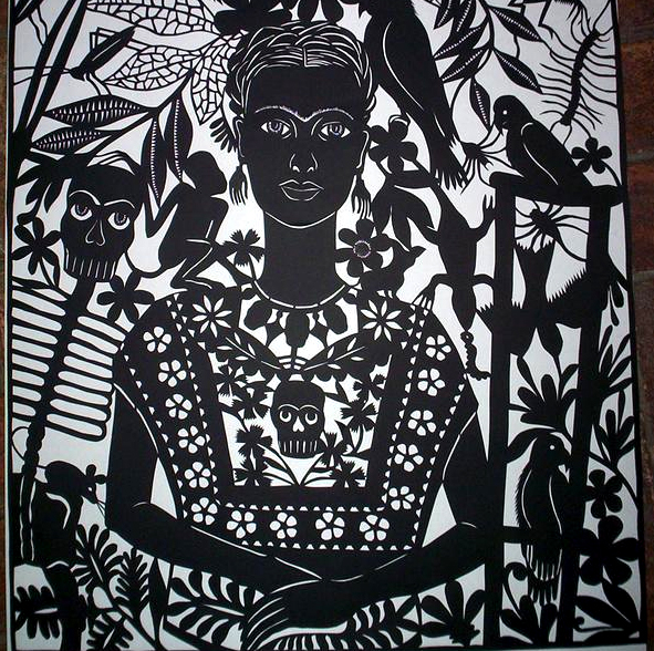 A papel picado masterpiece of Frida Kahlo by Margarita Fick.
