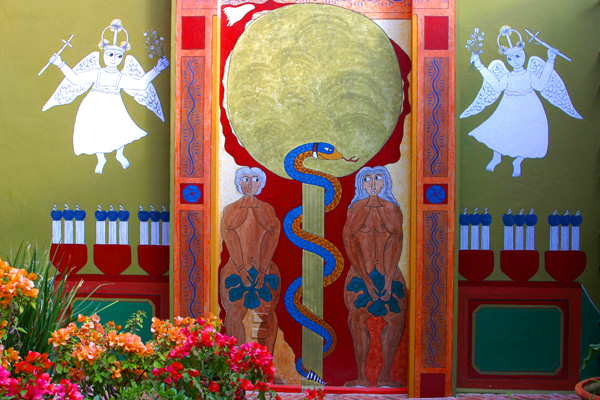 The Adam & Eve mural in the home of Eunice O'Hanna. Photo by David Lansing.