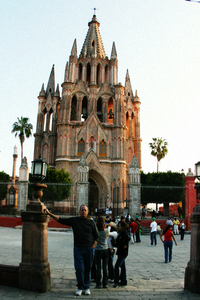 The author in front of La Parroquia, San Miguel de Allende.