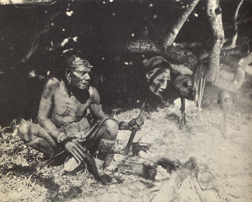 "A Martin Johnson photo captioned ""Campfire of the headhunters"""