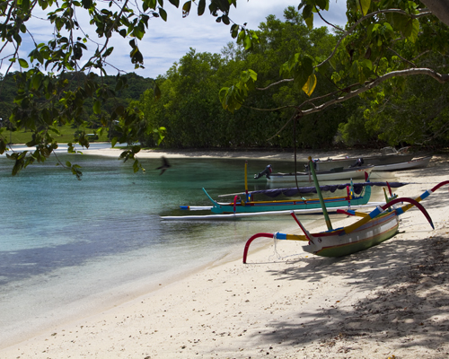 A deserted beach in front of Ratua, a private island in Vanuatu. Photo by David Lansing.