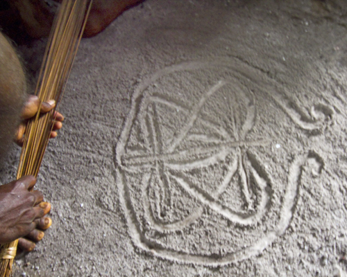 A Vanuatu sand painting of a butterfly. Photo by David Lansing.