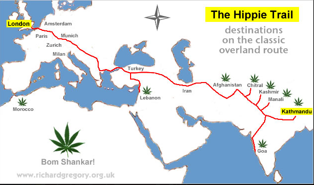 Europe To India Via Tehran And Kabul The Lost World Of The Hippie - Us map of hippie towns